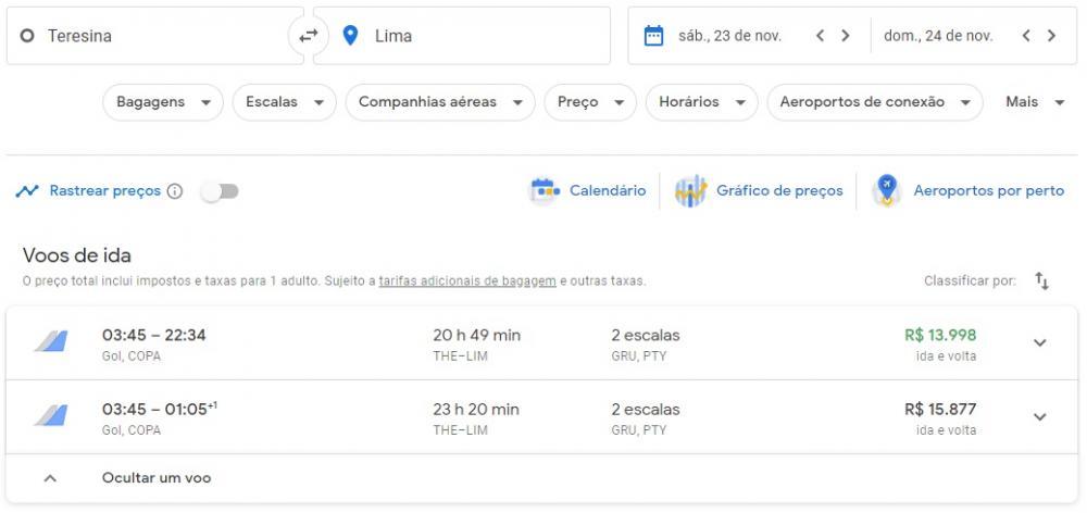Preço da passagem entre The e Lima as 16: 30 (Foto: Google Voos)