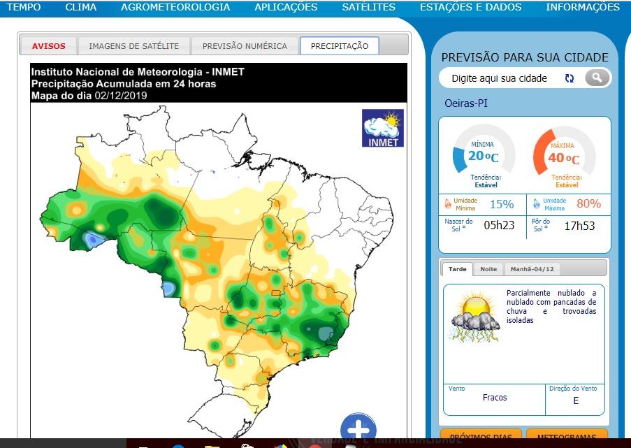 Chuvas chegarão do Tocantins e Bahia (Foto: Oeiras em Foco)