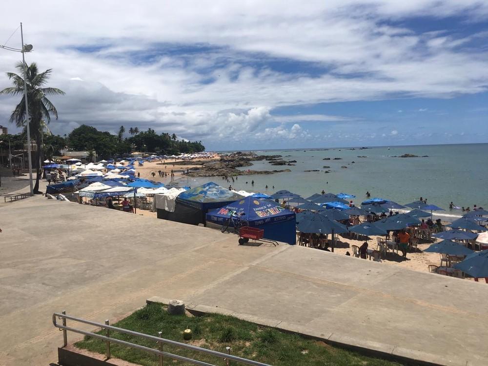 Crime ocorreu na praia de Itapuã, em Salvador (Foto: Maiana Belo/G1)
