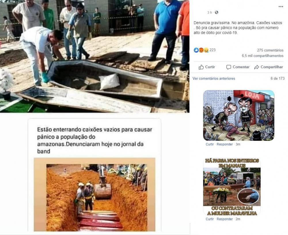 Caixão enterrados vazios para inflar mortes pelo Covid-19 é Fake