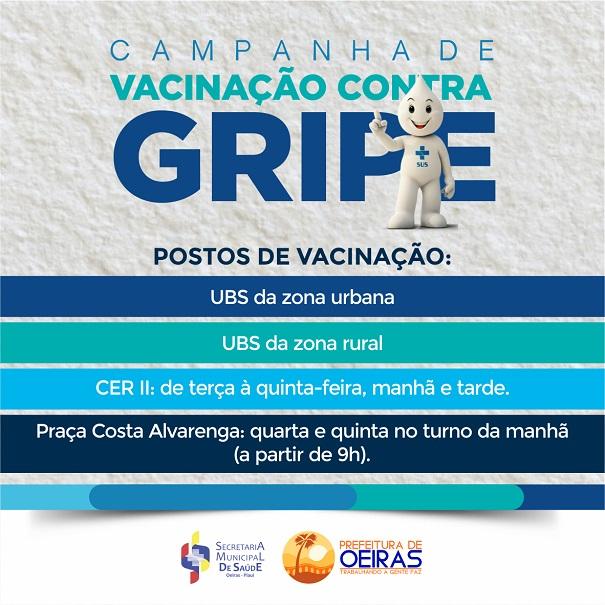 3ª fase da Campanha de Vacinação Contra a Gripe começa nesta terça (12) em Oeiras