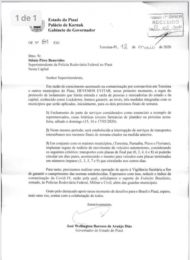 Documento que decreta 'medidas rigorosas' nas maiores cidades do Piauí vaza; Veja