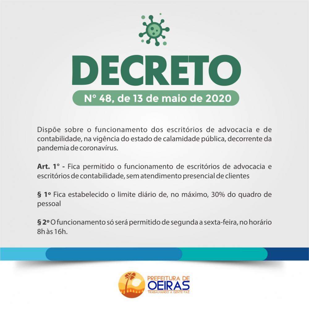 Decreto autoriza funcionamento de escritórios de advocacia e contabilidade com restrições em Oeiras