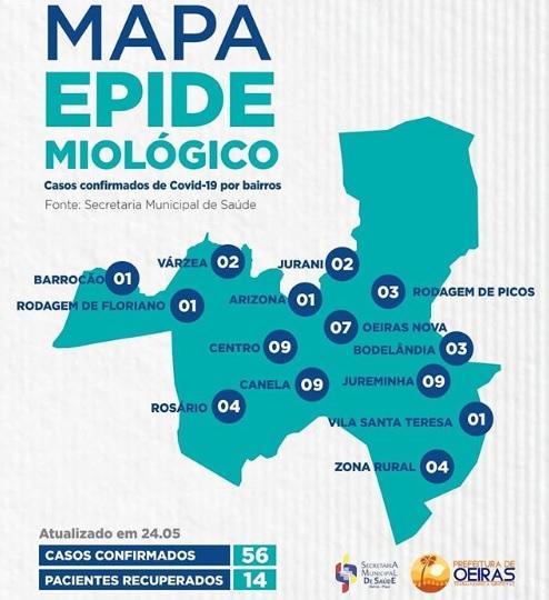 Canela, Jureminha e Centro são os bairros com mais casos de Covid-19 em Oeiras