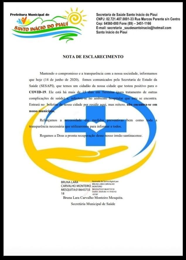 Santo Inácio tem primeiro caso de Covid-19 confirmado