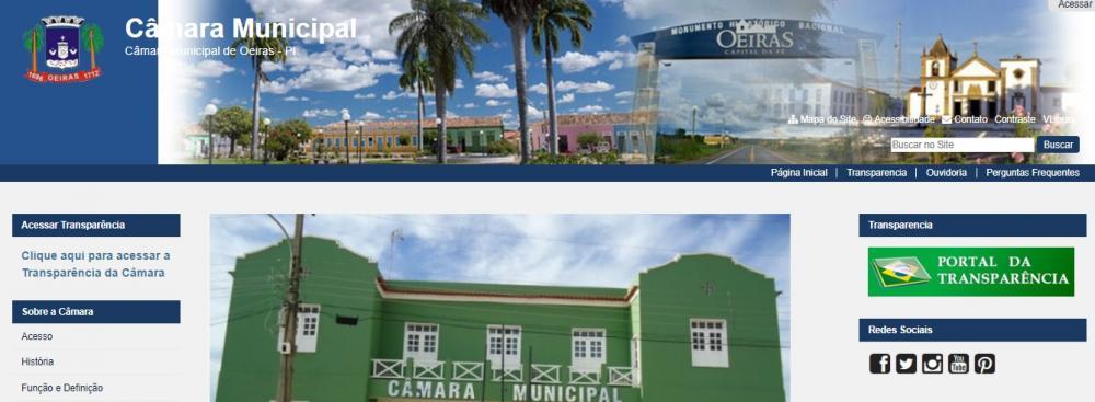 Site oficial da Câmara Municipal de Oeiras (Foto: Oeiras em Foco)
