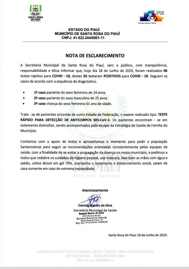 Santa Rosa do Piauí tem os três primeiros casos de Covid-19 confirmados