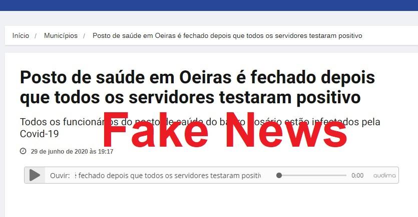 Notícia que UBS foi fechada em Oeiras por causa do Covid-19 é fake news