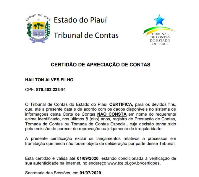 TCE emite certidão, contraria própria lista e Hailton Filho não tem irregularidades